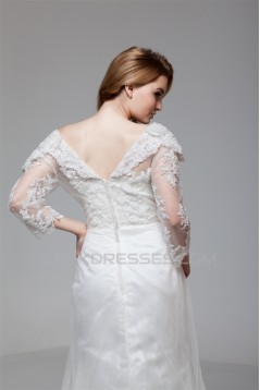 Satin Organza 3/4 Length Sleeve Sweetheart Embellished Wedding Dresses 2030860