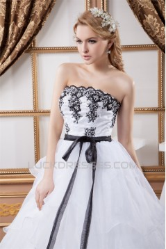 Satin Organza Ball Gown Strapless Sleeveless Beaded Lace Wedding Dresses 2030862