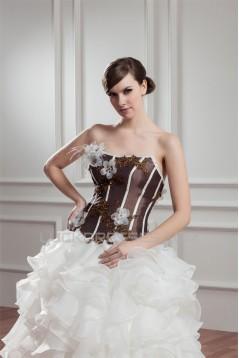 Satin Organza Ball Gown Sweetheart Sleeveless Embellished Wedding Dresses 2030863
