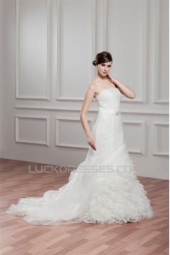 Satin Organza Strapless Mermaid/Trumpet Beaded Wedding Dresses 2030868