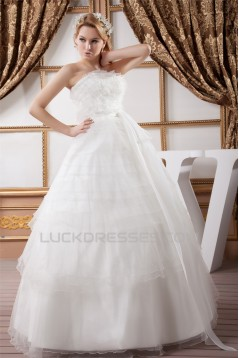 Ball Gown Satin Organza Strapless Sleeveless Princess Floor-Length Wedding Dresses 2030869