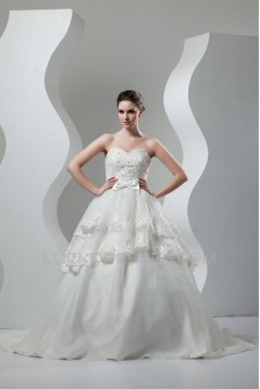 Satin Organza Sweetheart Ball Gown Sleeveless Beaded Lace Wedding Dresses 2030870