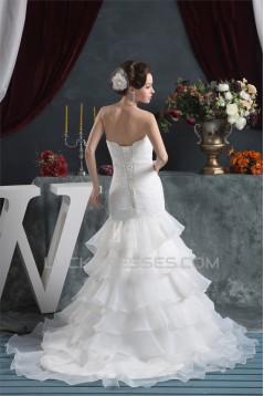 Satin Satin Organza Mermaid/Trumpet Sleeveless Beaded Wedding Dresses 2030871