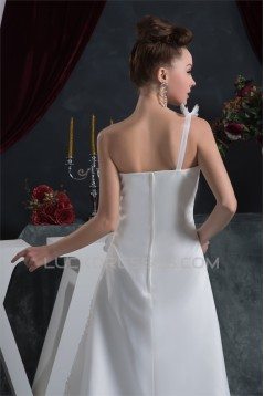 Sheath/Column One-Shoulder Satin Organza Beautiful Beaded Lace Wedding Dresses 2030872