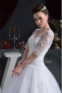 Ball Gown Satin Organza V-Neck Half Elbow Sleeve Floor-Length Wedding Dresses 2030873