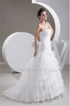 Satin Soft Strapless A-Line Sleeveless Wedding Dresses 2030877