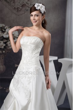 A-Line Sleeveless Satin Strapless Lace Wedding Dresses 2030879