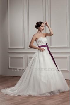 A-Line Sleeveless Satin Taffeta Sweetheart Lace Wedding Dresses 2030881