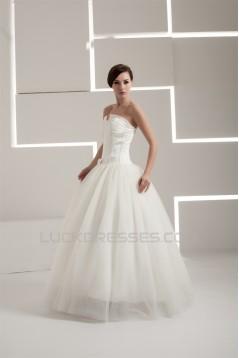 Satin Taffeta A-Line Strapless Sleeveless Wedding Dresses 2030883