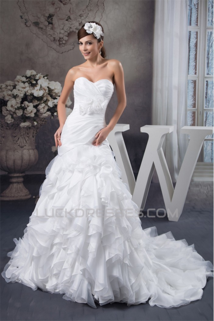 Satin Taffeta Fine Netting Princess Sweetheart Wedding Dresses 2030884