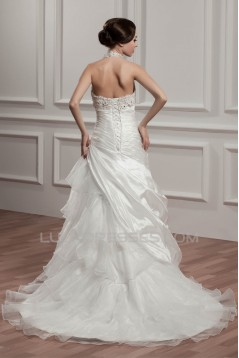 Satin Taffeta Halter A-Line Sleeveless Beaded Lace Wedding Dresses 2030886