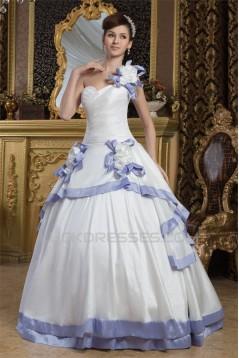 Ball Gown Satin Taffeta One-Shoulder Sleeveless Wedding Dresses 2030887