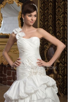 Satin Taffeta Sleeveless A-Line One-Shoulder Sweet Wedding Dresses 2030888