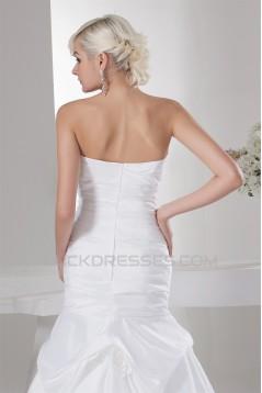 Satin Taffeta Sleeveless A-Line Soft Wedding Dresses 2030889