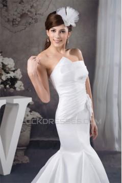 Mermaid/Trumpet Strapless Court Train Wedding Dresses 2030892