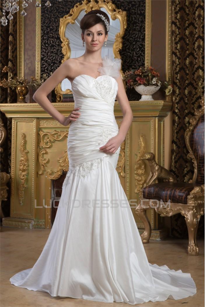 Mermaid/Trumpet Satin Taffeta One-Shoulder Sweetheart Wedding Dresses 2030893