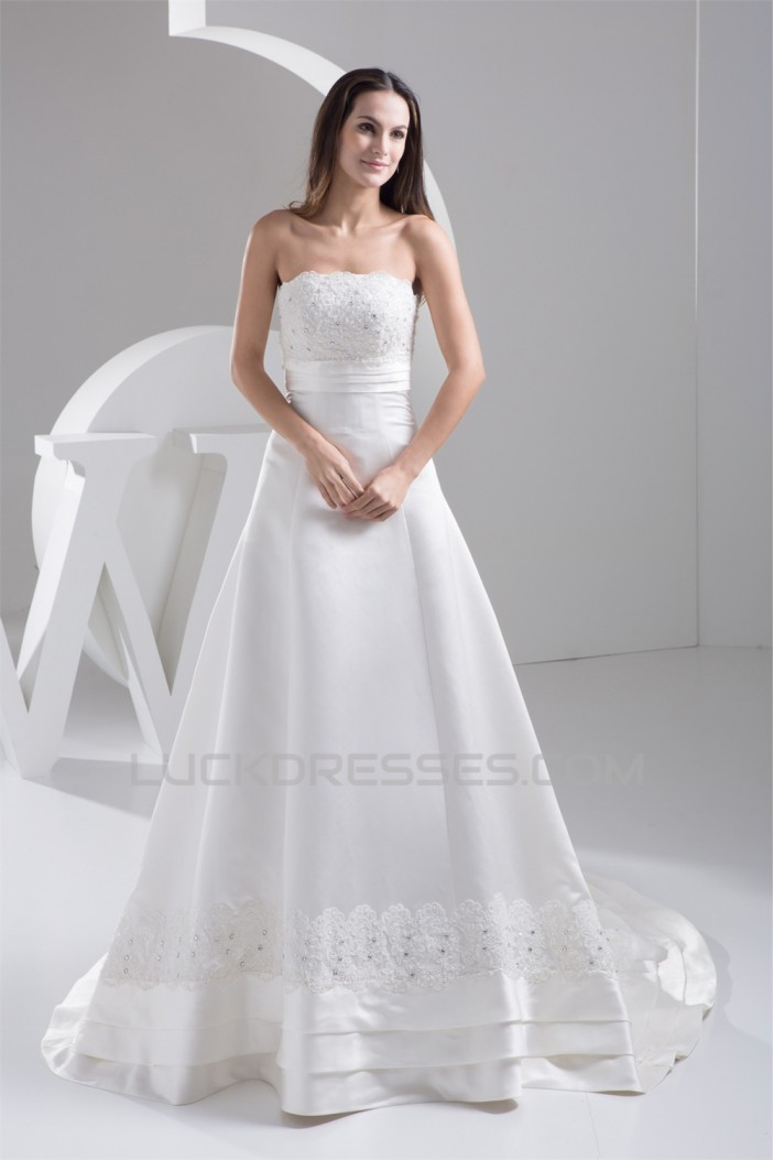 A-Line Strapless Beaded Lace Wedding Dresses 2030894