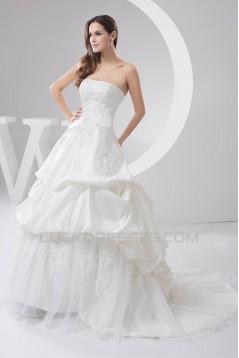 Satin Taffeta Strapless A-Line Sleeveless Sweet Wedding Dresses 2030895