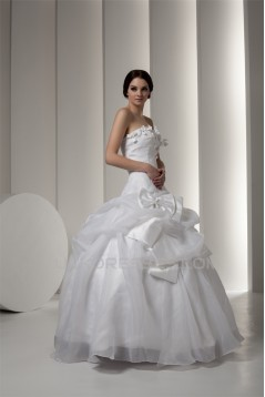 Satin Taffeta Strapless Sleeveless Ball Gown Sweet Wedding Dresses 2030896