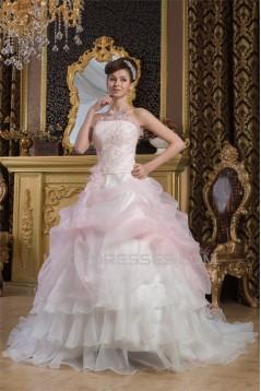Satin Tulle A-Line Strapless Sleeveless New Arrival Wedding Dresses 2030897