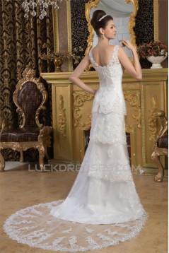 Sheath/Column Satin Fine Netting Sleeveless Beaded Lace Wedding Dresses 2030898