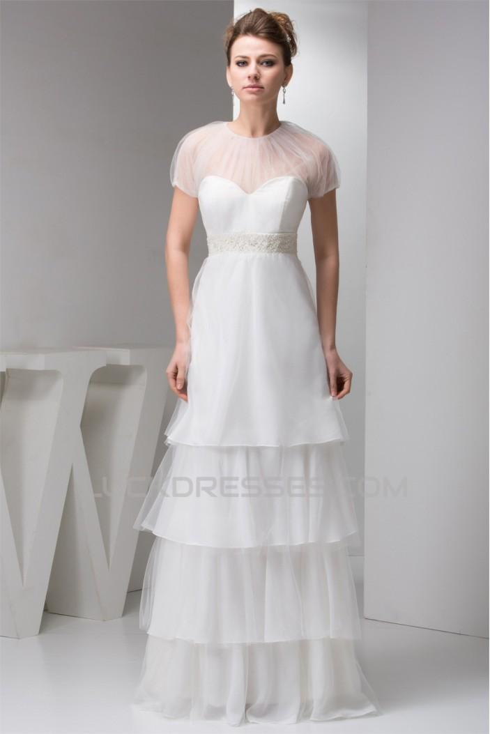 Sheath/Column Satin Fine Netting Sleeveless Beaded Floor-Length Wedding Dresses 2030899