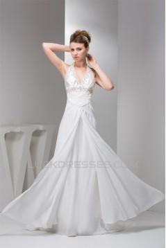 Sheath/Column Sleeveless Chiffon Halter Beaded Wedding Dresses 2030900