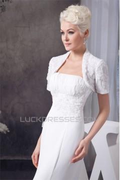 Sheath/Column Sleeveless Strapless Chiffon Wedding Dresses with A Short Sleeve Jacket 2030901