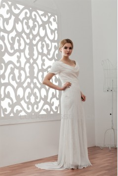 Short Sleeves Sheath/Column V-Neck Beaded Sequins Wedding Dresses 2030903
