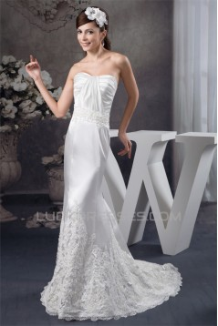 Silk like Satin Soft Sweetheart Mermaid/Trumpet Sweet Lace Wedding Dresses 2030904