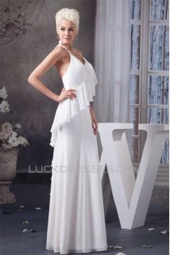 Sheath/Column Spaghetti Strap Chiffon Floor-Length Wedding Dresses 2030905