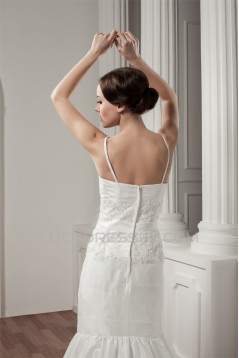 A-Line Satin Taffeta Lace Spaghetti Straps Sweet Wedding Dresses 2030908