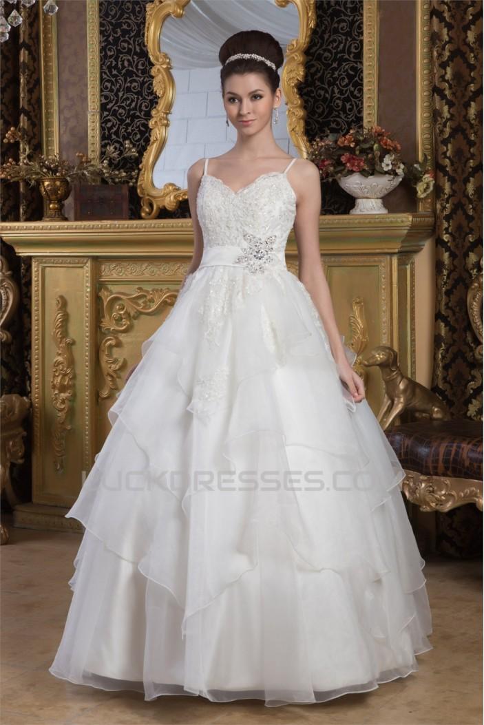 A-Line Spaghetti Straps Beaded Lace Floor-Length Wedding Dresses 2030909