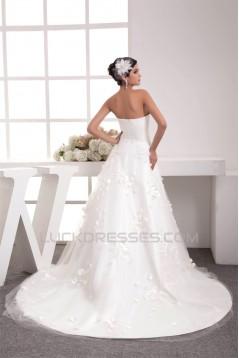 A-Line Strapless Satin Netting Wedding Dresses 2030910