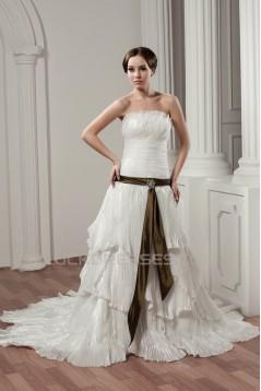 Sleeveless A-Line Strapless Satin Taffeta Best Wedding Dresses 2030911