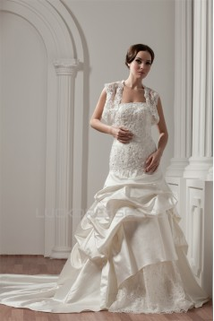 A-Line Strapless Satin Lace Wedding Dresses with A Lace Jacket 2030912