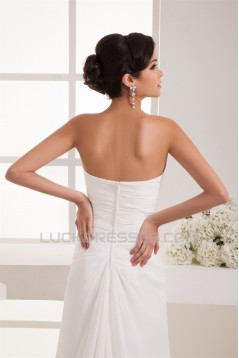Sheath/Column Sweetheart Chiffon Sweep Train Wedding Dresses 2030913