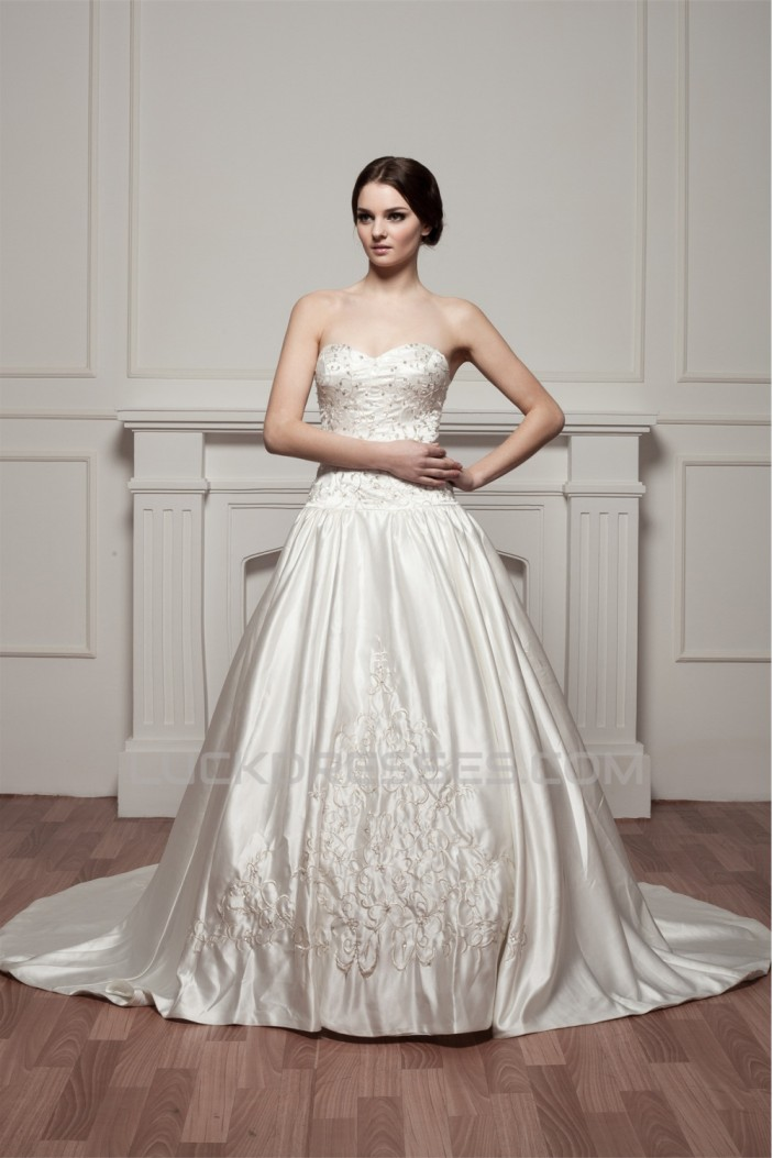 Sleeveless A-Line Sweetheart Satin New Arrival Wedding Dresses 2030914
