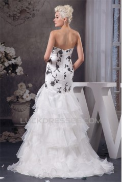Sleeveless A-Line Sweetheart Satin Ruffles Wedding Dresses 2030915