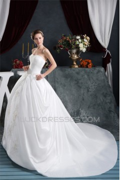 Ball Gown Sweetheart Chapel Train Beaded Lace Wedding Dresses 2030917