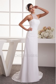 Sheath/Column Sleeveless Chiffon Fine Netting Sheer Beaded Wedding Dresses 2030918