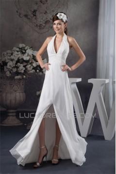 Sheath/Column Halter Chiffon Brush Sweep Train Beaded Wedding Dresses 2030920