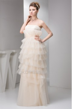 Sheath/Column Strapless Floor-Length Tiered Beautiful Wedding Dresses 2030922