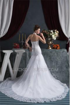 Sleeveless Halter Mermaid/Trumpet Satin Organza Lace Wedding Dresses 2030923