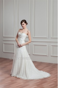 Sleeveless Lace Taffeta Sweetheart A-Line Best Wedding Dresses 2030924