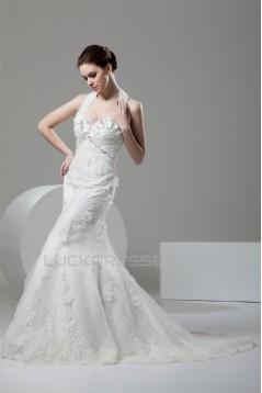 Mermaid/Trumpet Satin Lace Halter Embellished Wedding Dresses 2030925