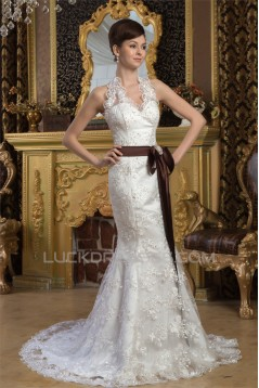 Mermaid/Trumpet Sleeveless Satin Lace Halter Sweet Wedding Dresses 2030926