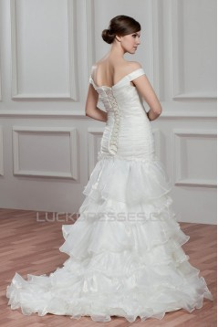 Sleeveless Off-the-Shoulder A-Line Satin Organza Wedding Dresses 2030928