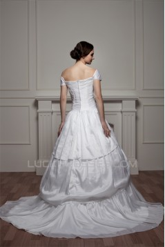 Sleeveless Off-the-Shoulder Satin Taffeta Wedding Dresses 2030929