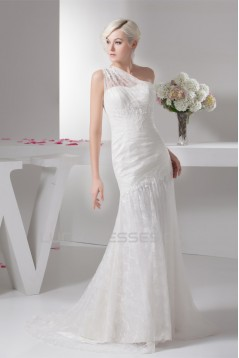 A-Line Sleeveless One-Shoulder Lace Wedding Dresses 2030930